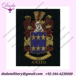 bullion embroidered family crest
