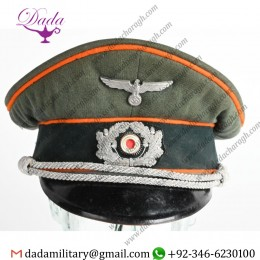 German Militaria, WWii Nazi German Feldgendarmie Officer Visor Hat