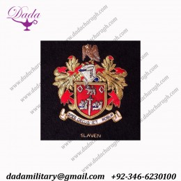 bullion wire Family crest, emblem hand made embroidery Coat of arms crest