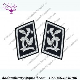Bullion Wire Embroidered Gorget Collar Patches
