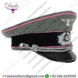 Visor Cap, German Army Officer Visor Cap - Pink Piping