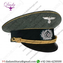 Visor Cap, German Army Officer Visor Cap Gold Piping and Braid