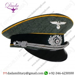 Visor Cap, German Army Officer Visor Cap Gold Yellow Piping