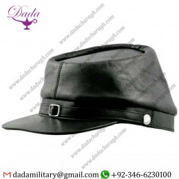 History Confederate Militaria, American Civil War Leather Kepi Cap Replica