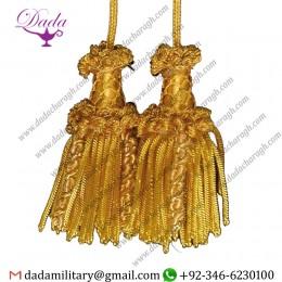 2 Tassels Cord Tassel gold bullion Metallic thread and Viscose for liturgical Stole
