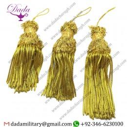 6 Inch Bullion Fringe Tassel Gold Metallic Thread