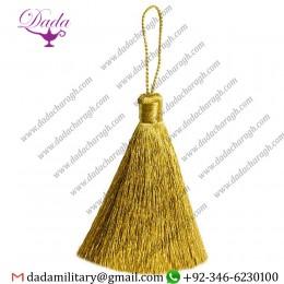 7 Cm  Straight Thread Mylar Tassel Golden