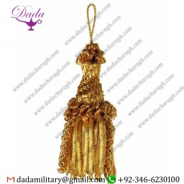 8cm (3,1 Inch)tassel With Bullion Helix Metallic Thread And Viscose For Liturgical Vestments