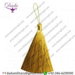 9 Cm Straight Thread Mylar Tassel Golden