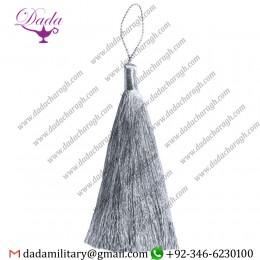 11 Cm Straight Thread Mylar Tassel Silver