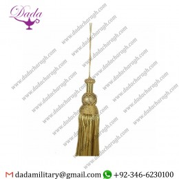 14cm (5,5 Inch) Bullion Tassel Gilded Wood Metallic Thread And Viscose For Liturgical Vestments