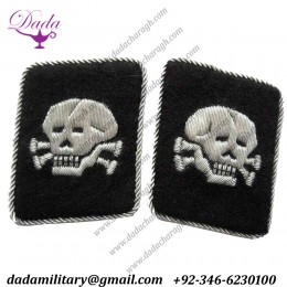 Ss Totenkopf Officers Double Skulls, Vertical