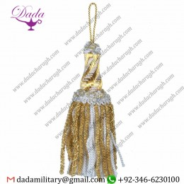 16cm (6,3 Inch)de Luxe Tassel With Gold And Colour Bullion Hole Metallic Thread And Viscose White For Liturgical Vestments