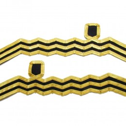 Cuff Rank Sleeve Cuff Curls Commander Navy Gold Wire Wavy Curl