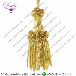 Bullion Helix Tassel Cord Tassel With Metallic Thread And Viscose For Liturgical Stole