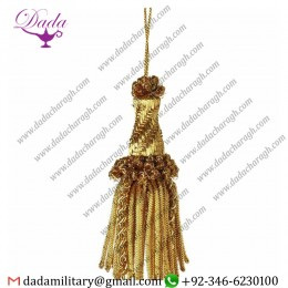 Cm 10 (3,9 Inch)tassel With Bullion Helix Metallic Thread And Viscose For Liturgical Vestments.