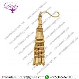 Custom Made Designtassel In Mylar Gold Wood Beaded