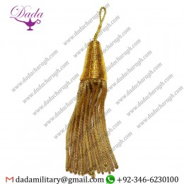 Custom Made Fringe Tassels, Gold Mylar Bullion Tassel For Cap, Costume, Dress Or Fancy Use