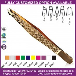 TITANIUM GOLD SERIES EYEBROW SLANT AND POINT TWEEZER,DAIMOND GRIP TWEEZER