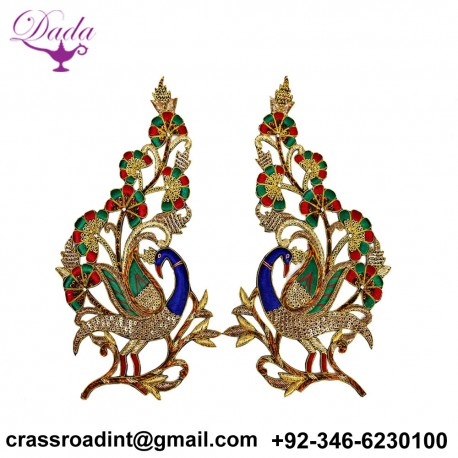 Decorative Peacock Handmade Patches Dresses Golden Christmas Appliques Sewing Crafting Supply Decor Patches For Garments