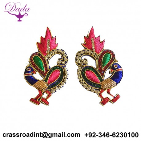 2 Beautiful Small Peacock patches for side blouse and back blouse design, festival