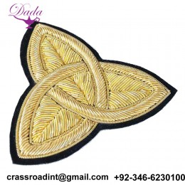 2 Hand-Embroidered, Bullion Appliques. Gold Trinity