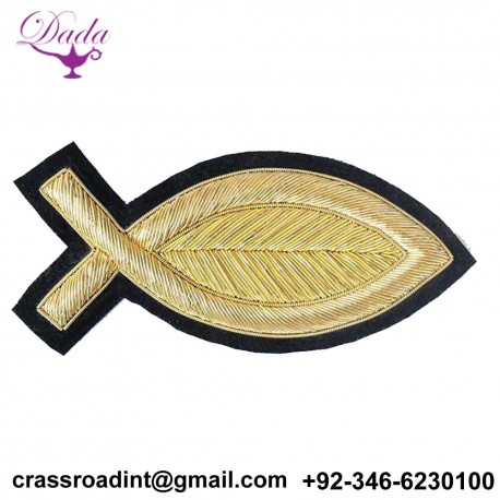 2 Hand-Embroidered, Gold, Bullion Appliques. Fish