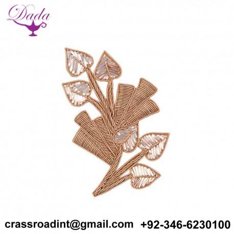 3 Leaf Mukaish,Badla Work and dabka Detailing Hand Work Patch