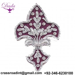 4 Hand-Embroidered Appliques. Fleur De Lis. Burgundy with Silver