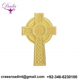8 Inch Applique. Celtic Cross. Hand Embroidered. Large, Vestment Patch. Gold
