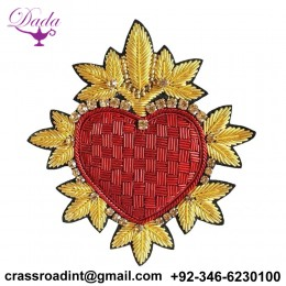 2020 fashion garment hand embroidery bullion patch heart shape embroidered badge