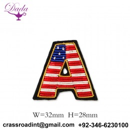A letter Customized Bullion wire brooch pin hand embroidery brooch badges Bullion wire fashion jacket