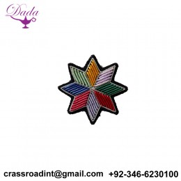 Apache flower brooch hand embroidery brooch badges Bullion wire fashion jacket Indian China embroidered patches