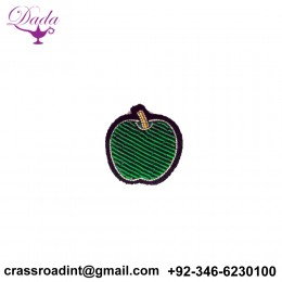 Apple brooch hand embroidery brooch badges Bullion wire fashion jacket