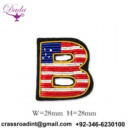 B letter Customized Bullion wire brooch pin hand embroidery brooch badges Bullion wire fashion jacket