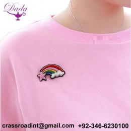 Badge Romantic Fun Cute Starlight Rainbow Cloud Indian Silk Embroidered Brooch5