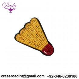 Badminton shuttle brooch hand embroidery Indian silk badges china motif creative brooch