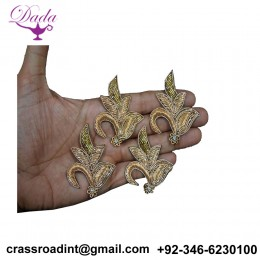 Beaded Bridal Headband Appliques Decorative Golden Appliques Patches Embroidery brooch