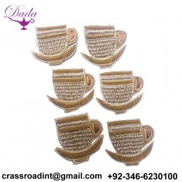 Beautiful Cup-Saucer Applique Patch Beaded Applique Accessories Dress Appliques Handcrafted Applique