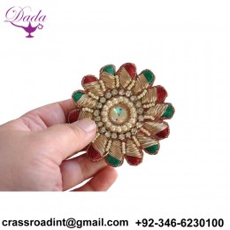 beautiful green red flower Indian fabric and sequin Applique