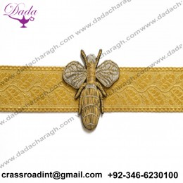 bee brooch hand embroidery brooch badges Bullion wire fashion jacket Indian China embroidered patches blazer crest goldwork