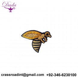 Bee Insect brooch hand embroidery brooch badges Bullion wire fashion jacket Indian China embroidered patches