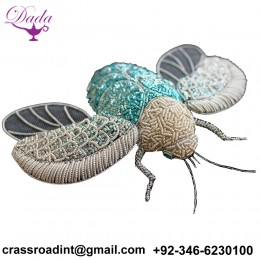 Bee insect Bullion wire brooch pin hand embroidery brooch badges Bullion wire fashion jacket Indian China embroidered patches