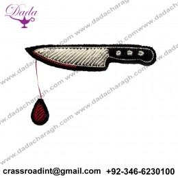 BLOOD KNIFE brooch hand embroidery brooch badges Bullion wire fashion jacket Indian China embroidered patches