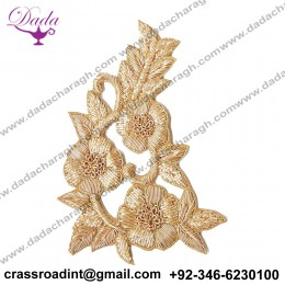 Boutique Golden Flower Work Embroidery Stitching Patches
