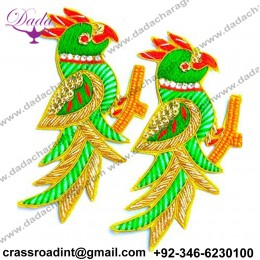Boutique Green and Golden Parrot Work Embroidery Stitching Patches