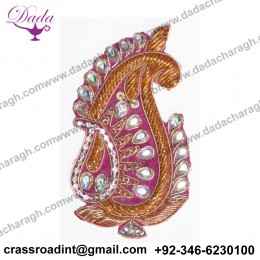 Bullion wire brooch Supplier Custom Hand Embroidery India Bullion Silk Patch Metallic Wire Clothing Horse Badge