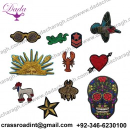 Bullion wire brooch suppliers pin hand embroidery brooch badges Bullion wire fashion jacket Indian China embroidered patches