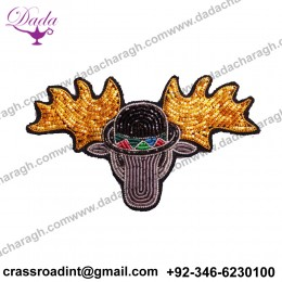 Caribou brooch Supplier Custom Hand Embroidery India Bullion Silk Patch Metallic Wire Clothing Horse Badge
