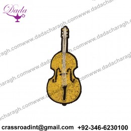 CELLO BROOCH brooch Supplier Custom Hand Embroidery India Bullion Silk Patch Metallic Wire Clothing Horse Badge